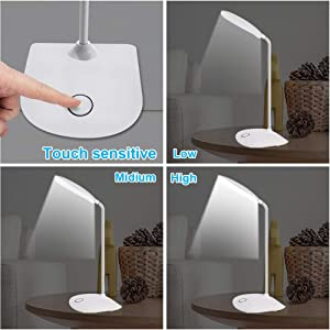DEEPLITE LED Desk Lamp with Flexible Gooseneck 3 Level Brightness, Battery Operated Table Lamp 5W Touch Control, Compact Portable lamp for Dorm Study Office Bedroom(Set of 2) (Color: Touch Desk Lamp, Tamaño: desk lamp 2 pack)
