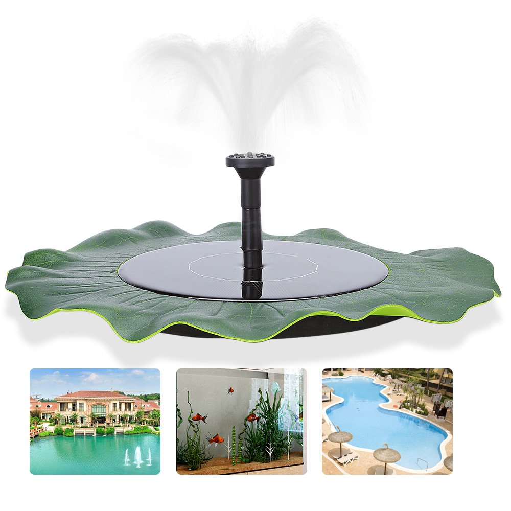 zqasales Solar Fountain, Garden Fountain Artificial Outdoor Fountain For Home Family Garden Park Decoration (Lotus Leaf Shape)