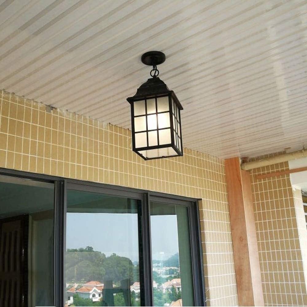 Color : Bronze, Size : S-1530cm Outdoor IP54 Waterproof Aluminum Chandelier Outside Garden Villa Ceiling Pendant Lamp European Household Corridor Square Suspension Light E27