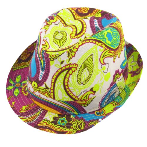 Women Summer Outdoor Paisley Pattern Yellow Fuchsia Fedora Trilby Hat