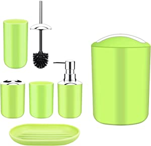 Papillon Bathroom Accessories Set-6 Piece Plastic Gift Set Toothbrush Holder,Toothbrush Cup,Soap Dispenser,Soap Dish,Toilet Brush Holder,Trash Can,Tumbler Straw Set Bathroom (Apple Green)