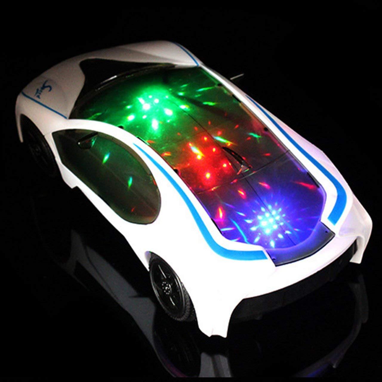 Jasnyfall LED Licht Musik Rennwagen Universal Electric Flash 3D Lichter Kinder Spielzeugauto weiß