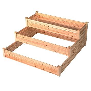 Amazon Com Good Life Outdoor Patio Wooden 3 Tier Raised Garden Bed