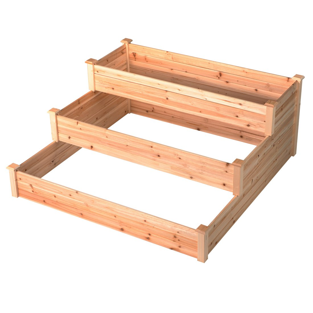 GOOD LIFE Outdoor Patio Wooden 3 Tier Raised Garden Bed Elevated Planter Box Nature Color LNG378