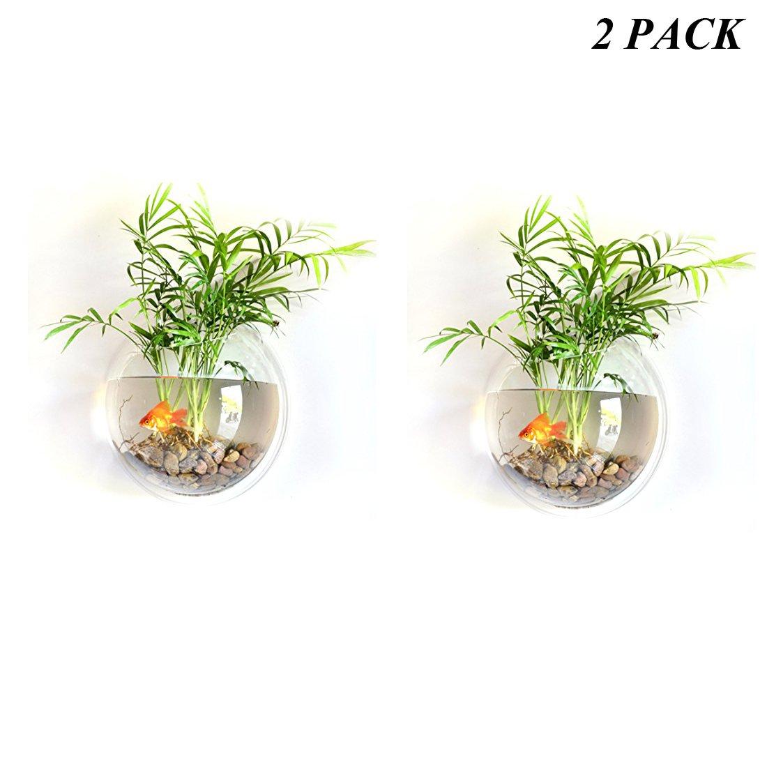Haoun 2 Pack Wall Hanging Fish Bowl, Mini Fish Tank Wall Mounted Small Aquarium for Wall Decoration 6 Inch