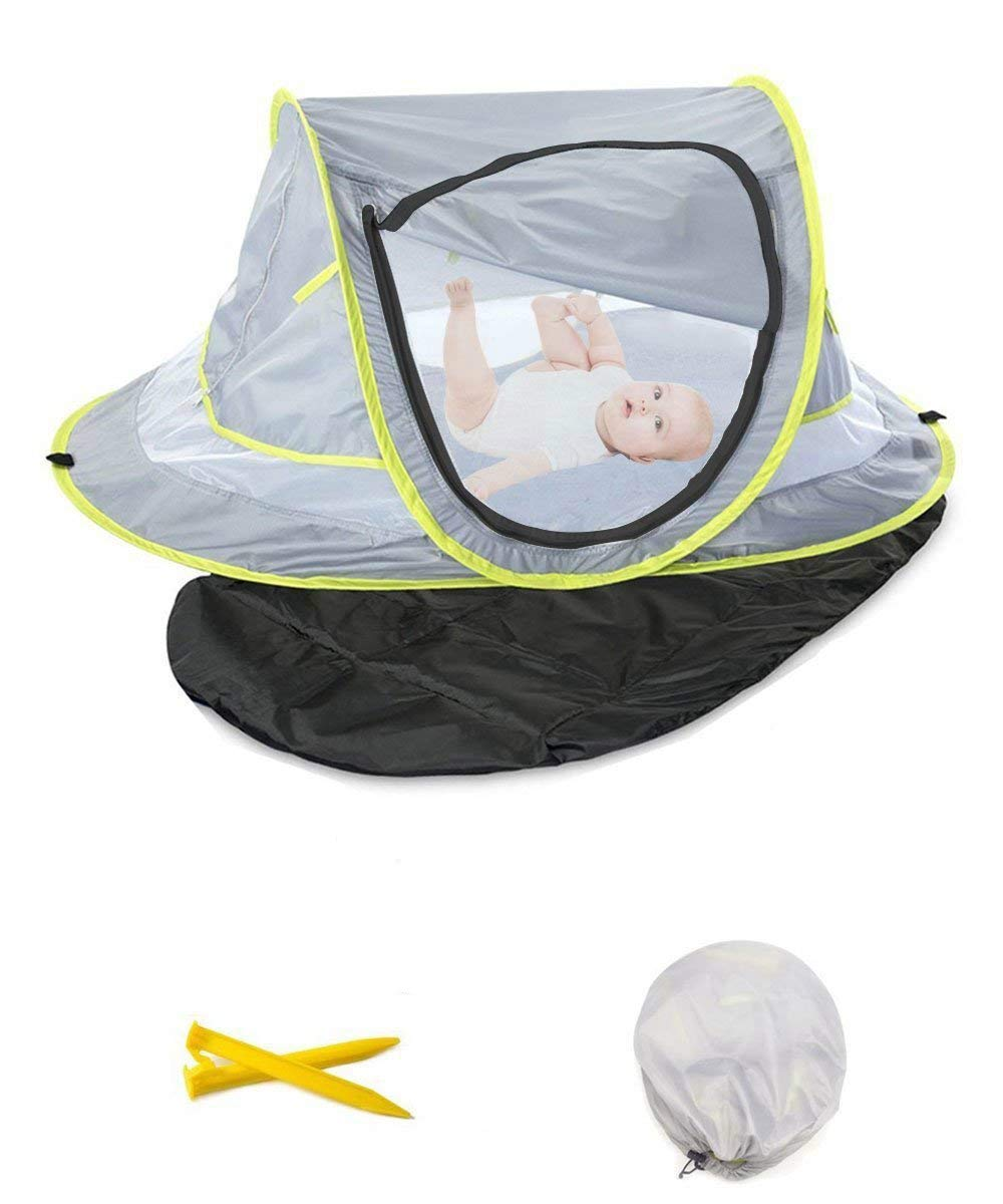 Baby Pop-up Beach Tent with Sleeping Pad and Mosquito Net, UPF 50+ Travel Bed for Newborn, Insfant, 2 Pegs + 1 Portable Bag