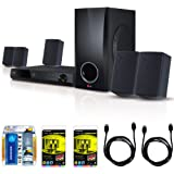 5.1ch 500W Smart 3D Blu-Ray Home Theater System Plus Hook-Up Bundle - BH5140S. Bundle Includes 3 Outlet Surge with 2 USB Ports, Two 6ft Optical Toslink 5.0mm OD Audio Cables, Two 6 ft High Speed 120hz Ready 1080p HDMI Cable, and TV/LCD Screen Cleaning Kit