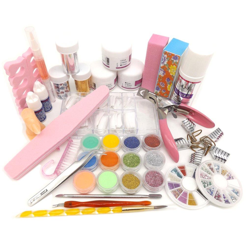 Warm Girl Full Nail Art Set Acrylic Glitter Powder Liquid Tip File Brush Form Glue Dust Tips Tool Kit