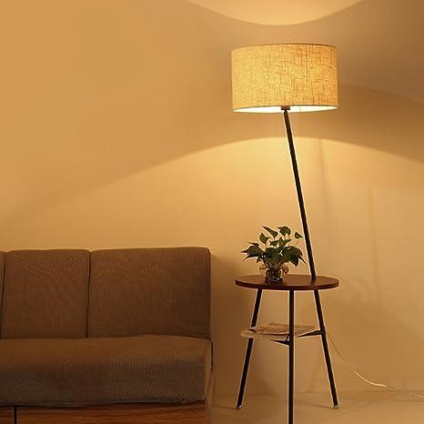 Lámpara de Piso- Lámpara de pie de Madera nórdica Lámpara de ...