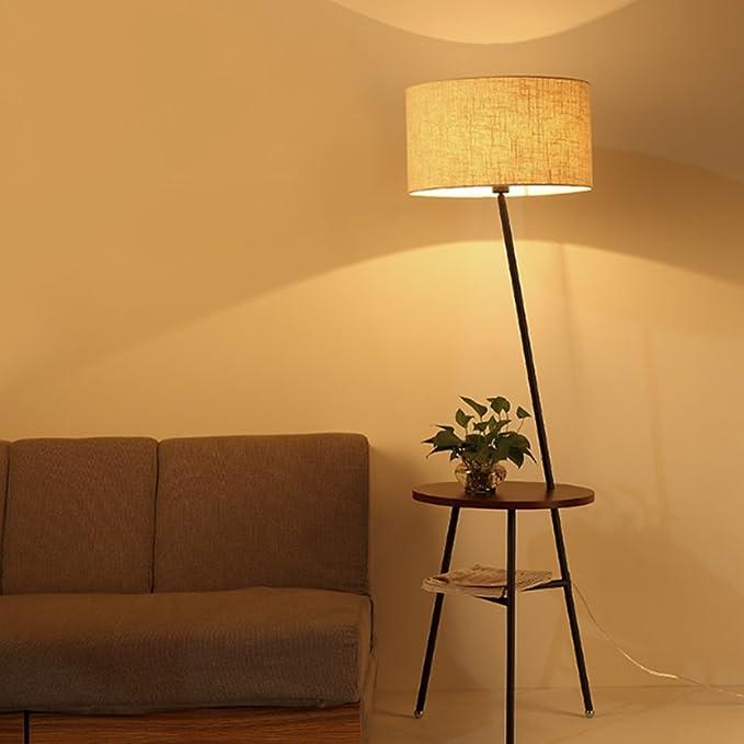Lámpara de Piso- Lámpara de pie de Madera nórdica Lámpara de Mesa ...