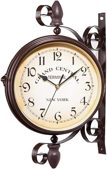 Ailiebhaus Relojes de Doble Cara Antiguo de Estilo Europeo jardín estación de Reloj de Pared Exterior: Amazon.es: Relojes