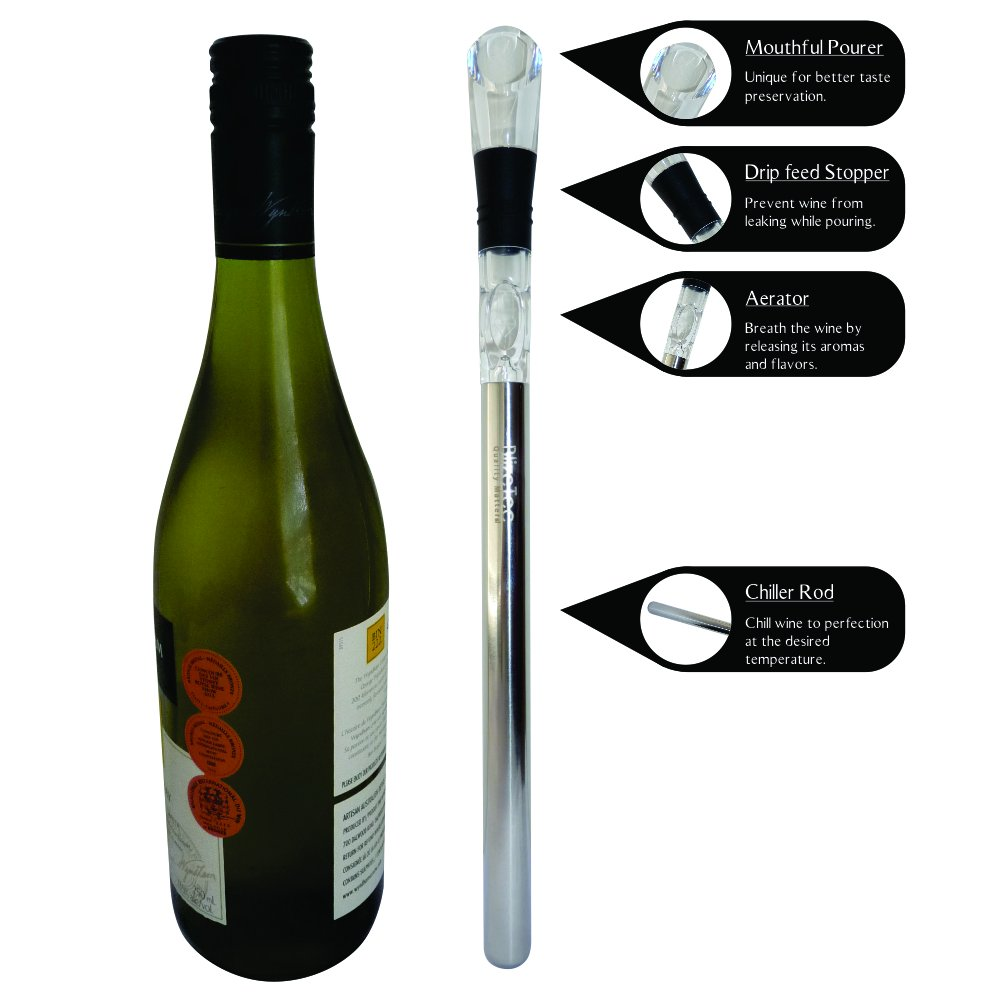 Wine Chiller: BlizeTec 3-in-1 Stainless Steel Wine Bottle Cooler Stick with Aerator and Pourer by BlizeTec (Image #2)