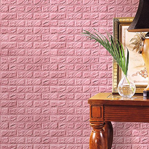 3D Brick Wall Stickers, PE Foam Self-adhesive Wallpaper Removable and Waterproof Art Wall Tiles for Bedroom Living Room Background TV Decor (60 X 30 X 0.8cm, Pink)