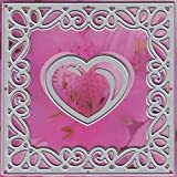 Ecstasy Crafts Lin and Lene Cut and Emboss Dies-Square/Flower and Heart, 4 by 4-Inch, 2-Pack