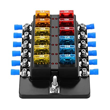 Amazon.com: BaiSuiLiang Blade Fuse Block Box Holder 12 Way ... on