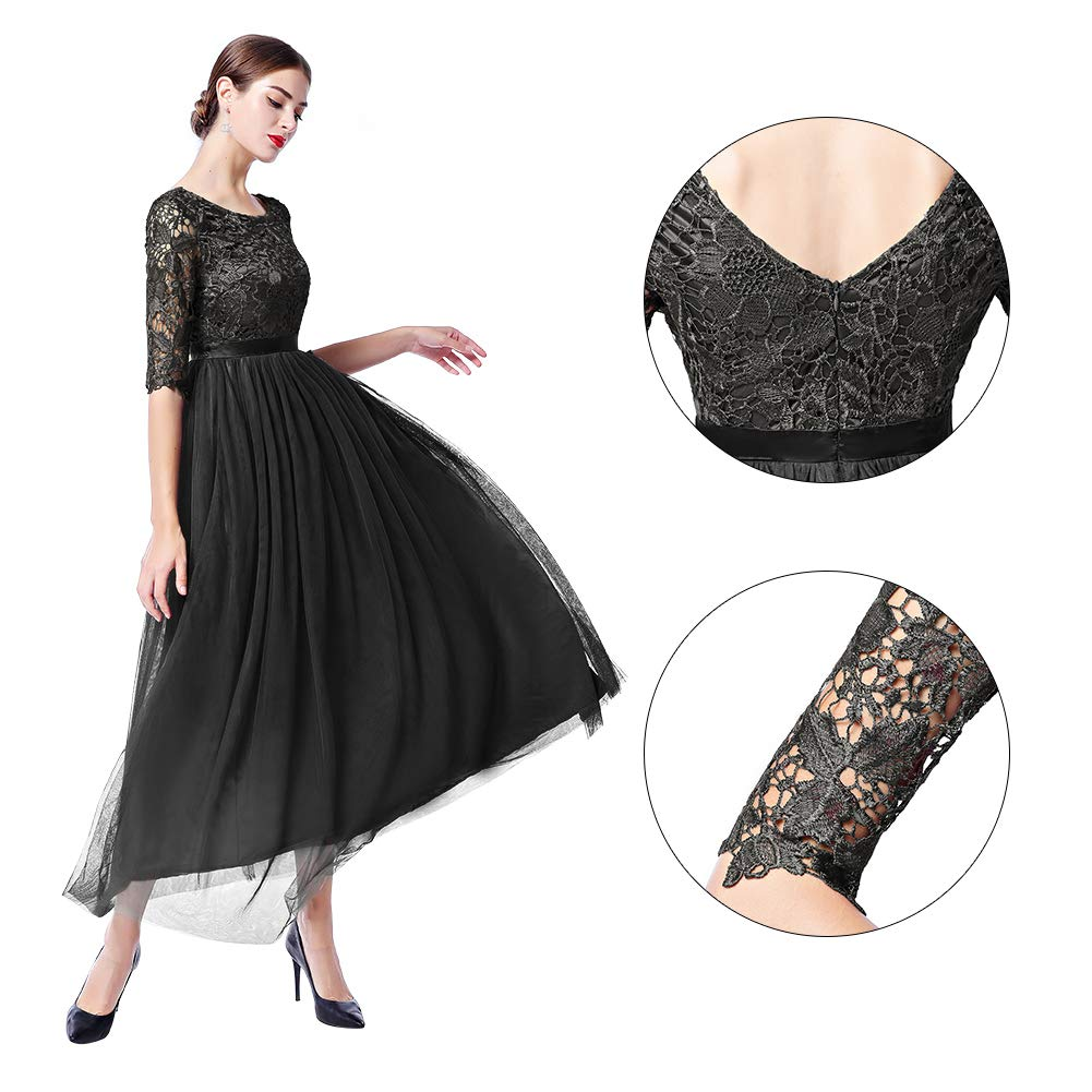 806eece6a Womens Vintage Lace Bridesmaid Long Dresses Prom Evening Cocktail 3 4  Sleeves Tulle Floral Retro Maxi Gowns at Amazon Women s Clothing store