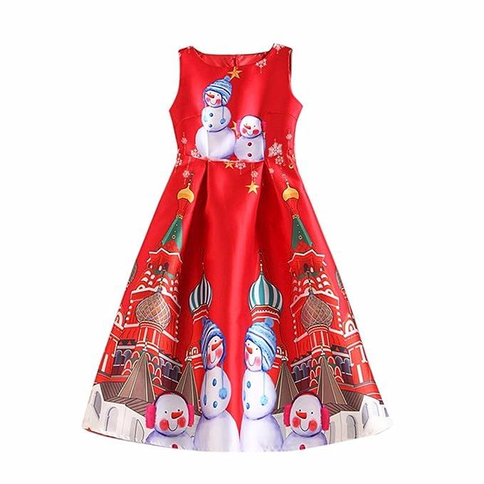 K-youth Vestido De Navidad Vestidos De Fiesta Mujer Cortos Elegantes Muñeco de Nieve Impresión
