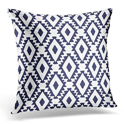 SPXUBZ Blue Southwest Feathers and Cactus White Latin Geometric Decorative Home Decor Square Indoor/Outdoor Pillowcase Size: 20x20 Inch(Two (South Seas Hut)