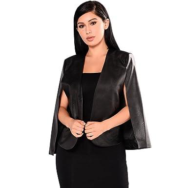 Cloak Veste Cuir Pu Cape Femme Blazer Poncho Open Devant Chengyang xaAgzwqA