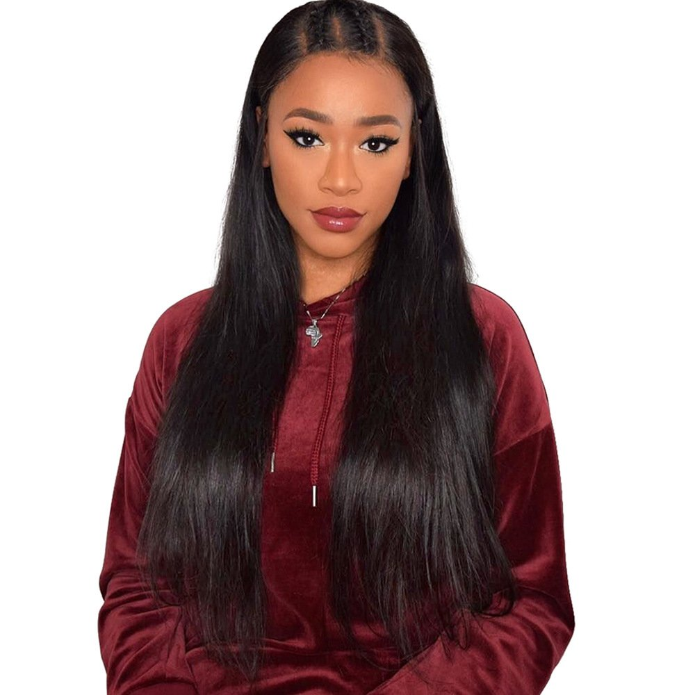 KeLang Brazilian Virgin Human Hair Lace Front Wigs for Black Women Long Straight Pre Plucked Glueless Human Hair Wigs With Baby Hair And Bleached knots 130% Density Natural Black color (Lace Front 16) by KeLang (Image #3)