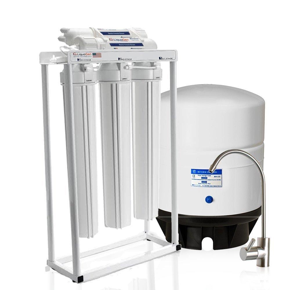 LiquaGen - Light Commercial Reverse Osmosis Water Filter System w/ Antioxidant (ph Alkaline/KDF/ORP Negative) Mineral Restoration Filter & 14 Gallon Storage Tank (200 GPD)