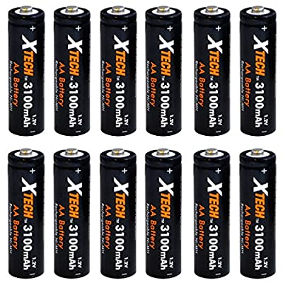 Xtech AA Ultra High-Capacity 3100mah Ni-MH Rechargeable Batteries