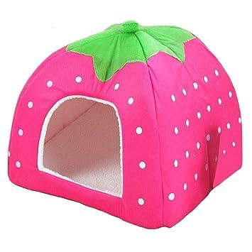 ペット イチゴ 犬小屋 小型猫用 ハウス ペットベッド 折り畳み Pawstrip (レオパード,XXL) 小型犬用