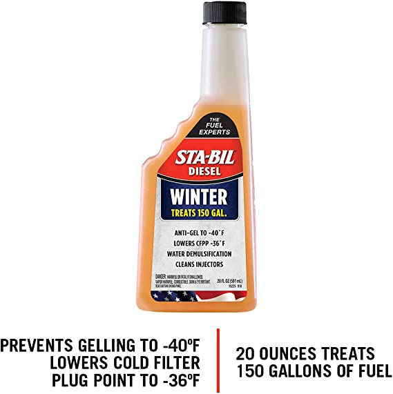 STA-BIL 20oz (15225) Winter Ant-Gel-Prevents Gelling Down to-40 Degrees Fahrenheit-Cleans Injectors-Treats 150 Gallons of Diesel Fuel