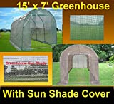 Green Garden Hot House Walk In Greenhouse 15'x7' + Sun Shade Cover - By DELTA Canopies