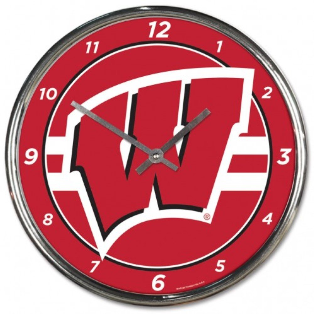 NCAA Wisconsin Badgers WinCraft Official Chrome Clock