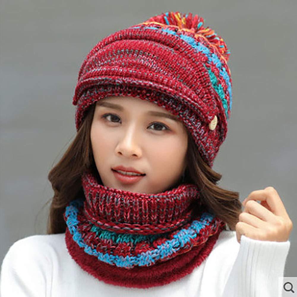 YJJ 3PCS Winter Knitted Hat Circle Scarf Set with Detachable Gauze Mask for Girls Boys Women Men Knit Pom Pom Bobble Cycling Ski Beanie Cap