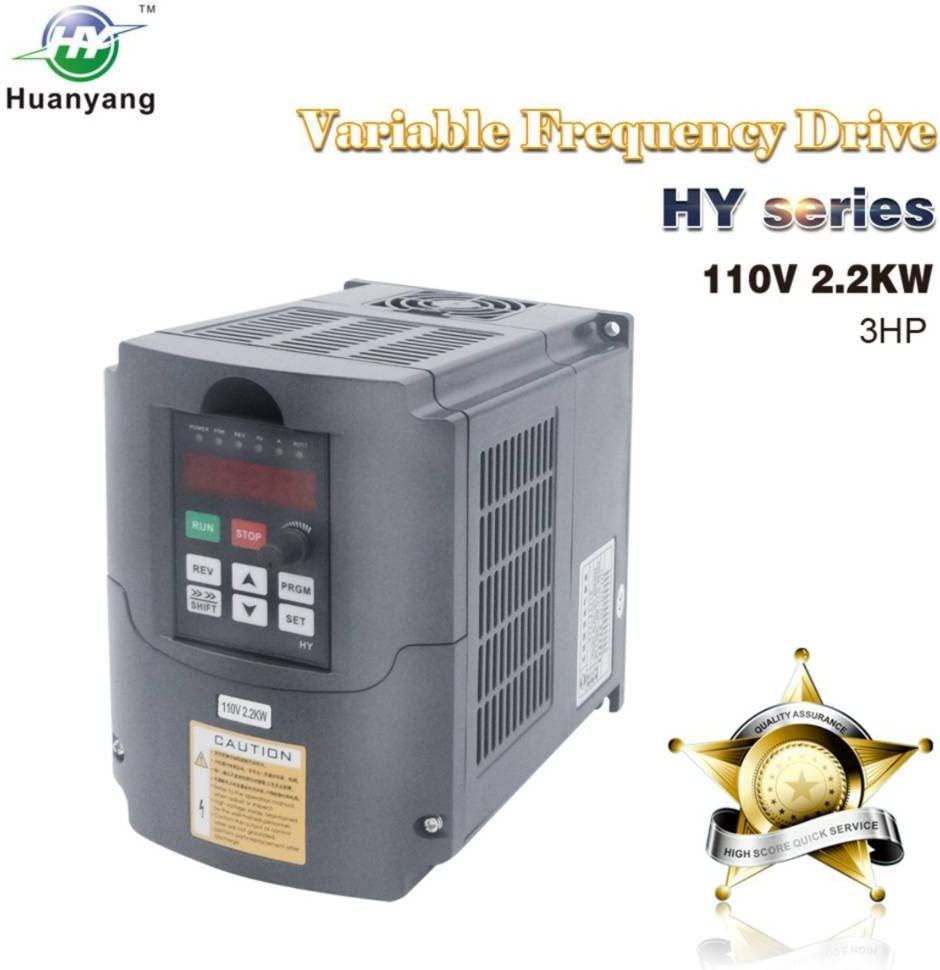 VFD 110V 2.2KW 3hp Variable Frequency CNC Drive Inverter Converter for 3 Phase Motor Speed Control (2.2KW, 110V)