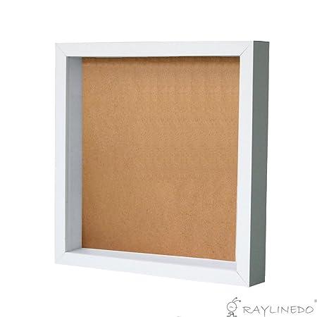 Bilderrahmen von RayLineDo®, weiß, Box für Muster, Medaillen, getrocknete Blumen, für Origami, 12*12inch