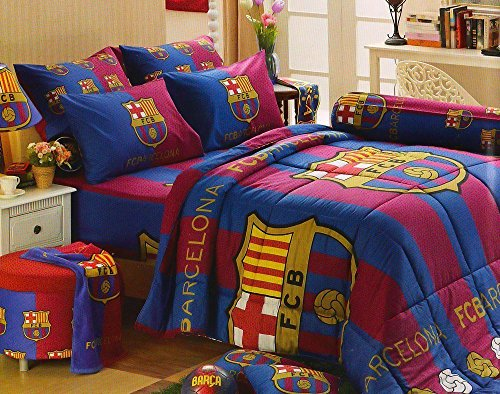 Barcelona Fc Football Club Official Licensed Bedding Set, Bed Sheet, Pillow Case, Bolster Case (Not Included Comforter) BC001 Set B, 60