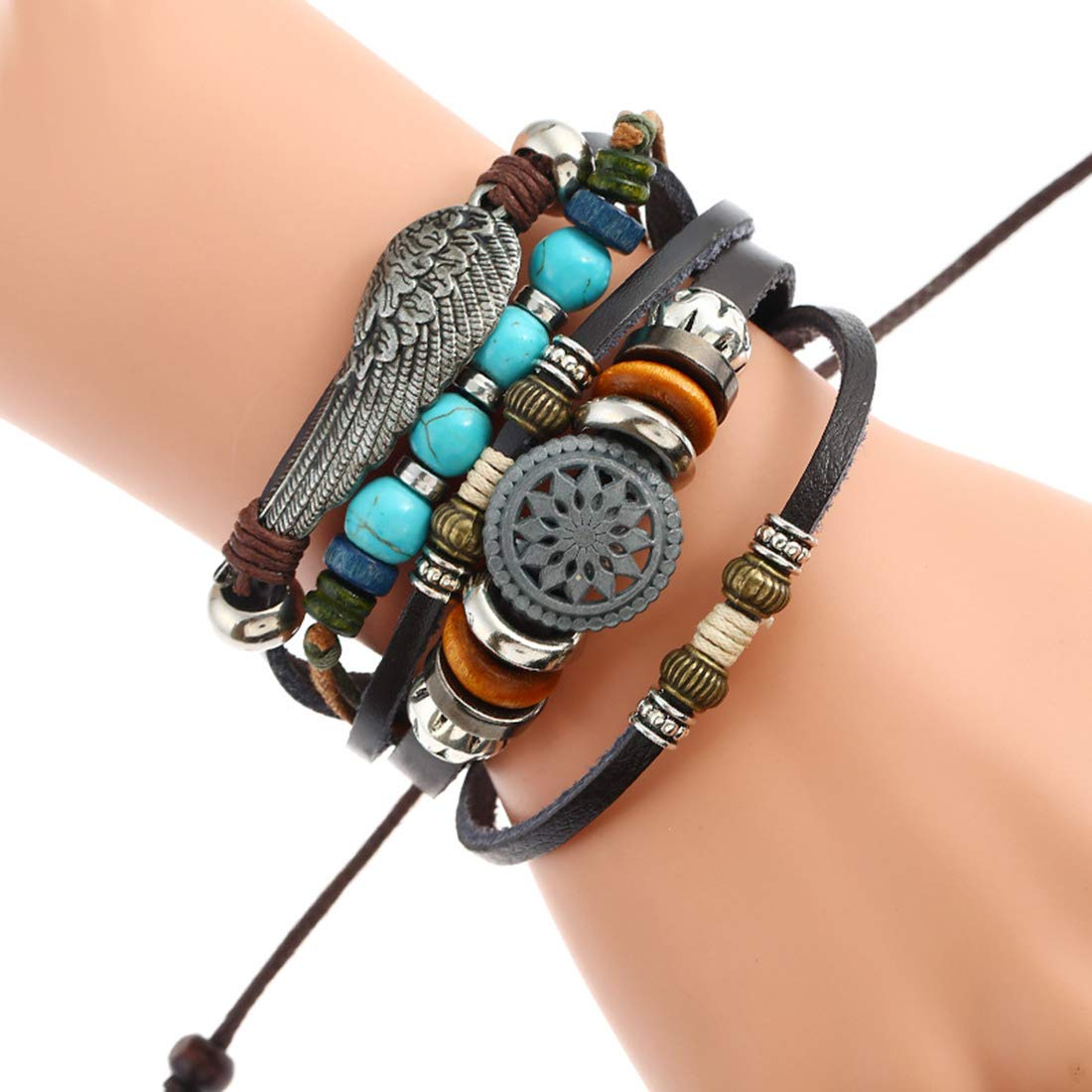 JuSir Multilayer Big Sun & Feather Shape Bracelet Braided Beaded Leather Woven Wristband Adjustable Cuff Wrap Bangle