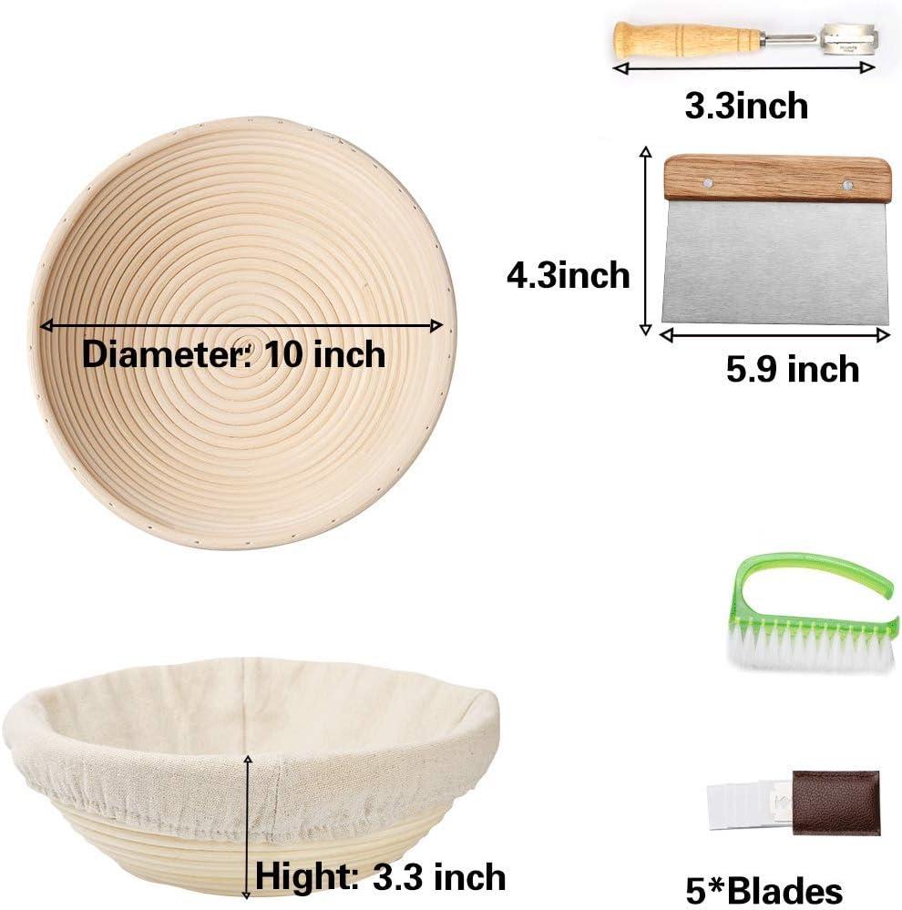 Sourdough Bread Proofing Basket Set with Metal Dough Scraper, Bread Lame, Scrub Brush Brotform Round Proofing Bowl Rattan Sourdough Banneton Basket Banneton Proofing Basket for Bread Making Baking