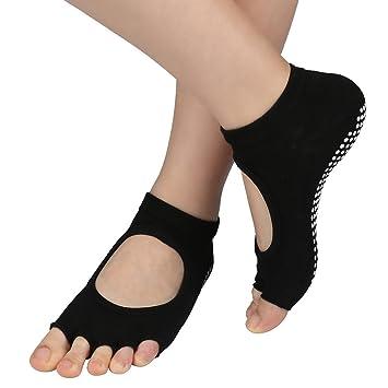WJkuku Antideslizante sin Dedos Yoga Calcetines de Bella Algodón Tejido para Mujer y para Hombre - Negro - 2 Pares: Amazon.es: Deportes y aire libre