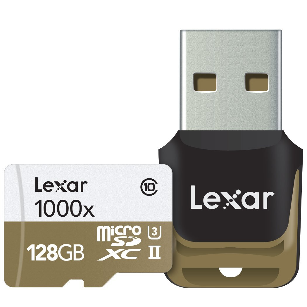 Lexar Professional 1000x microSDXC 128GB UHS-II/U3 (Up to 150MB/s Read) W/USB 3.0 Reader Flash Memory Card LSDMI128CBNL1000R