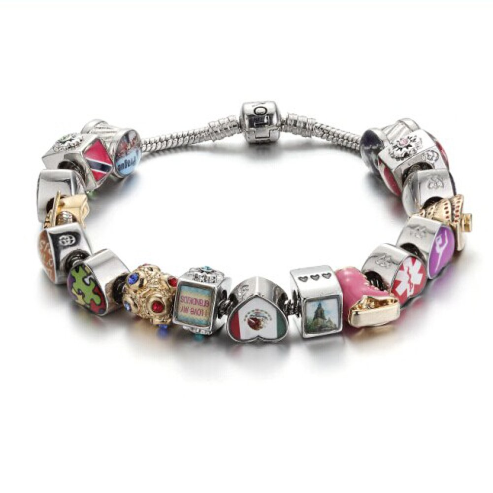 FERVENT LOVE Bracelet Charm Utah Photo Heart Charm Beads Fit European Charms