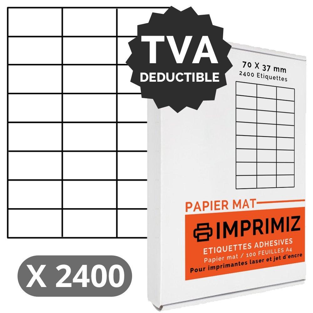 Etichette adesive x 2400 etichette, 70 x 37 mm, colore: bianco opaco, per stampanti Laser e a getto d'inchiostro, 100 fogli A4, autoadesive Imprimiz