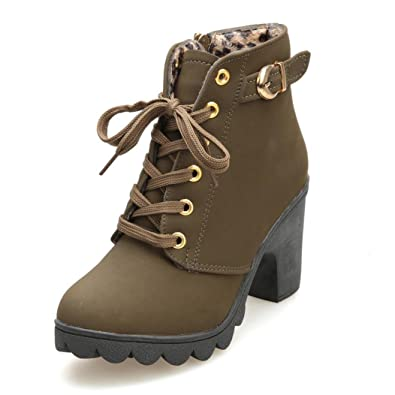 Women Martin Boots HGWXX7 Fashion High Heel Thick With Thick End Lace Up Ankle Boots Ladies Buckle Platform Shoes