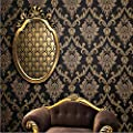 QIHANG European style Gold - Flecked Process Damascus Non-woven Wallpaper Black Colors 0.53m(1.73') x 10m(32.8')=5.3?(57sqft)