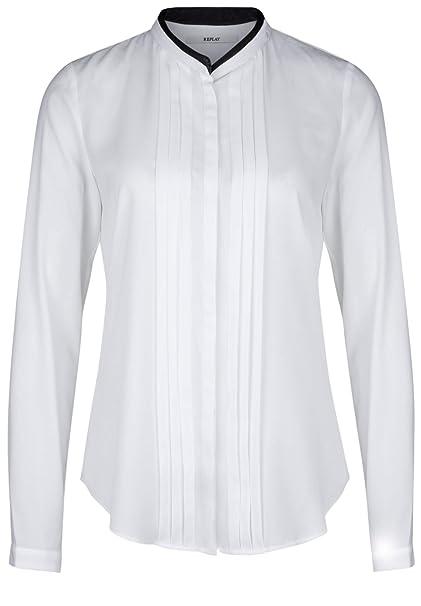 REPLAY Camisas - Básico - Cuello Mao - Manga Larga - para Mujer Blanco  óptico M  Amazon.es  Ropa y accesorios 77f68772758