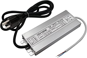 LED Driver Waterproof IP67 Power Supply 100W 12V DC 8.5a Transformer thinner and Durable with US 3-Prong Plug Plate for Outdoor Use