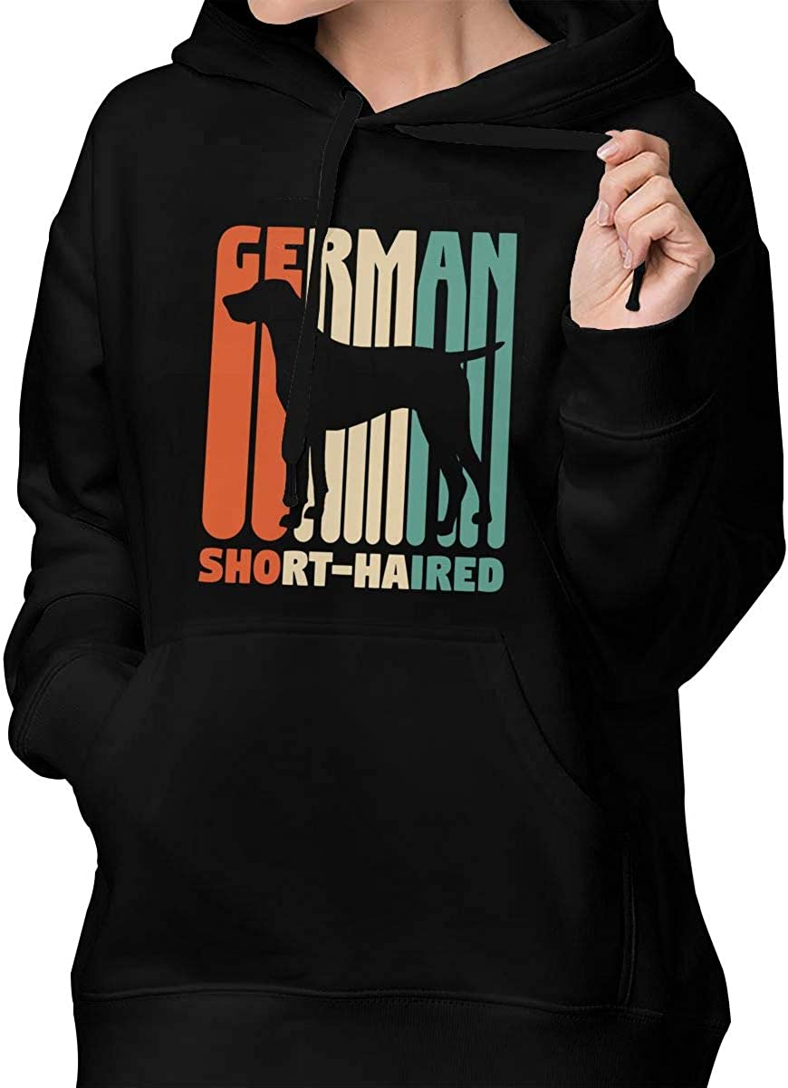 Womens Pullover Hoodie Hooded with Pockets Vintage German Short-Haired