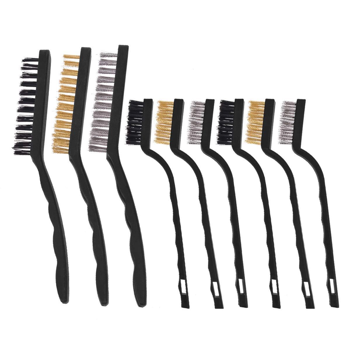 YoungRich 9 Piezas Conjunto de Cepillo de Alambre de Material de Nylon de Acero Inoxidable y Lató n Tamañ os Surtidos para la Limpieza Soldadura Polvo de Ó xido de Escoria