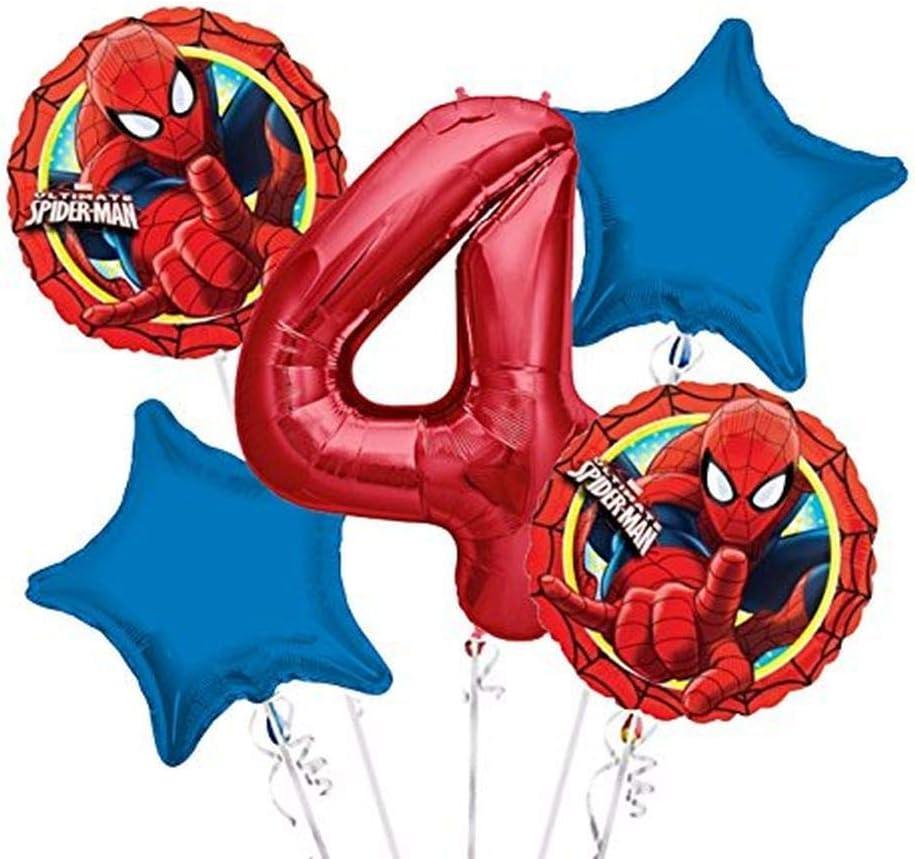 Spider-Man 4 Seitig Aufdruck Latex Ballons X 5