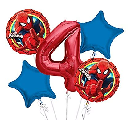 Amazon.com: Spiderman el Globo Ramo 4th cumpleaños 5 Pcs ...
