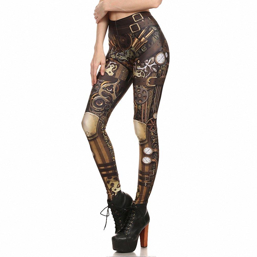 GIBIEE 2017 New Skull Women Leggings Printed Leggins Woman Pants Steampunk L