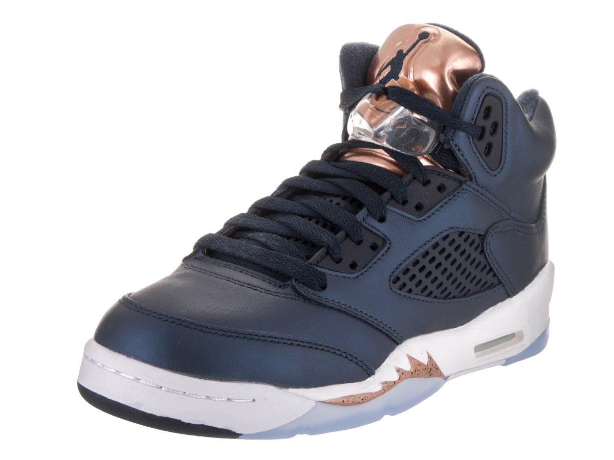 Jordan Nike Kids Air 5 Retro BG Obsdn/Mtlc RD Brnz/Wht Basketball Shoe 6.5 Kids US